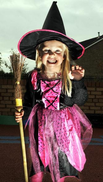 Crewe Guardian: Pictured in her witch outfit is Amy Powley, aged five.