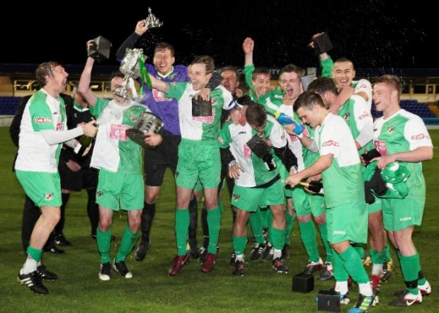 Nantwich Town celebrate their Cheshire Senior Cup victory.  Pictures by simonjnewburyphotography.co.uk