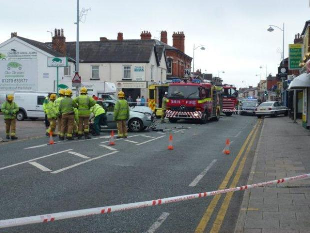 One hospitalised after Crewe road collision