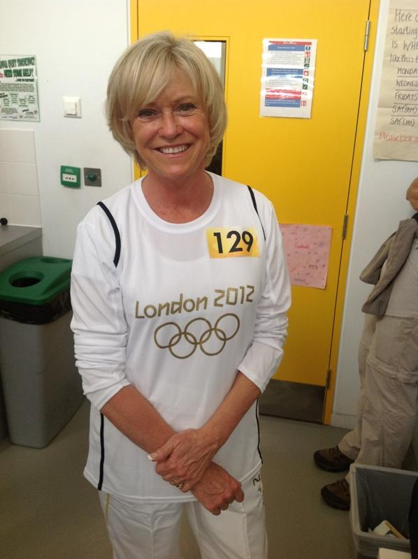 Sue Barker carried the Olympic torch in Merton