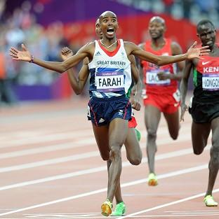 Great Britain's Mo Farah wins the men's 5,000m final in the Olympic Stadium, London