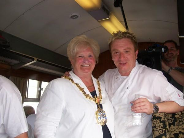 Mayor meets Corrie cook on steam train