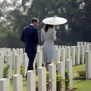 William and Kate visit war cemetery