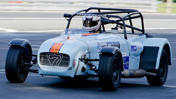 Mick Whitehead in his 1600cc Caterham 7. Pictures by Mike Lyne