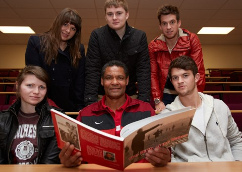 Tony Whelan reads from his book about the Busby Babes. Back row left to right Amy Richardson, Ivan Shelton, Joe Price; Front row left to right Amy Phillips, Tony Whelan, Jamie Dennis.