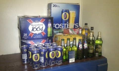 Some of the alcohol confiscated from youths in Wistaston