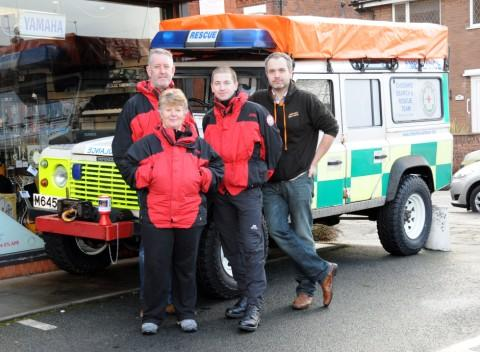 Mark Clayton, Barbara Broderick and Mark Susca, from Cheshire SAR, with supporter Conor Slevin, from Northwich Music Centre.