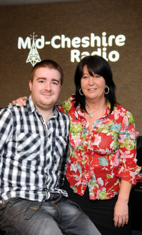 Dan Morris and Karen Burns in the Mid Cheshire Radio studios