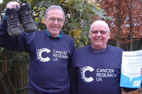 David Rowlands (left) and Roy Williamson (right), organisers of the 'Striding the Sandstone' sponsored walk in aid of Cancer Research UK.