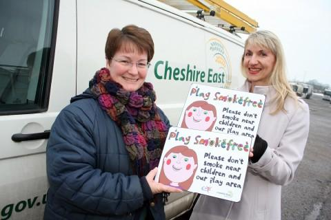 Councillor Janet Clowes (left) and the Heart of Mersey's Suzanne Sweeney showcase the signs.