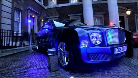Bentley parked a luxury saloon along Whitehall during the apprentice event at Admiralty House on Whitehall