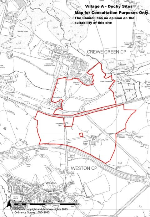 One of two 'village' sites proposed by the Duchy of Lancaster north of Weston