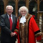 Outgoing Mayor Councillor George Walton with new Mayor Councillor Dorothy Flude
