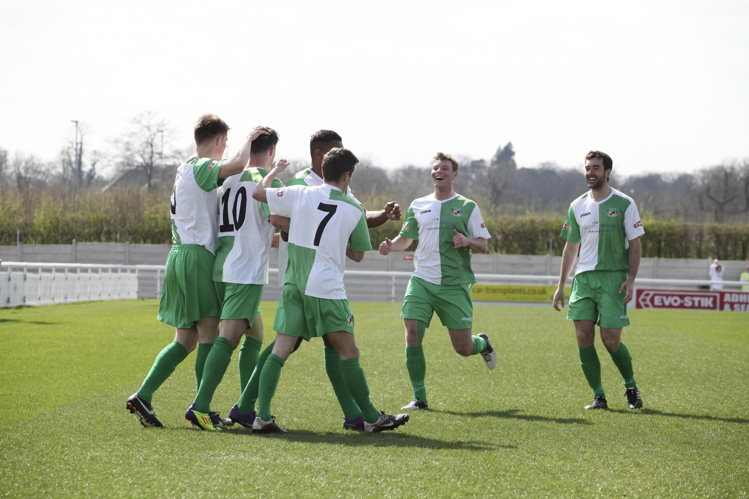 Nantwich celebrate their victory. Picture: Simon J Newbury Photography