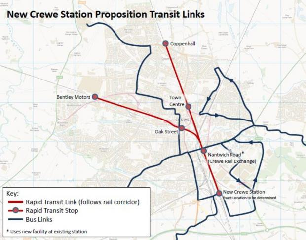 Cheshire East Council want to build a tram network in Crewe centred on the current railway station – if the town gets a new interchange for HS2