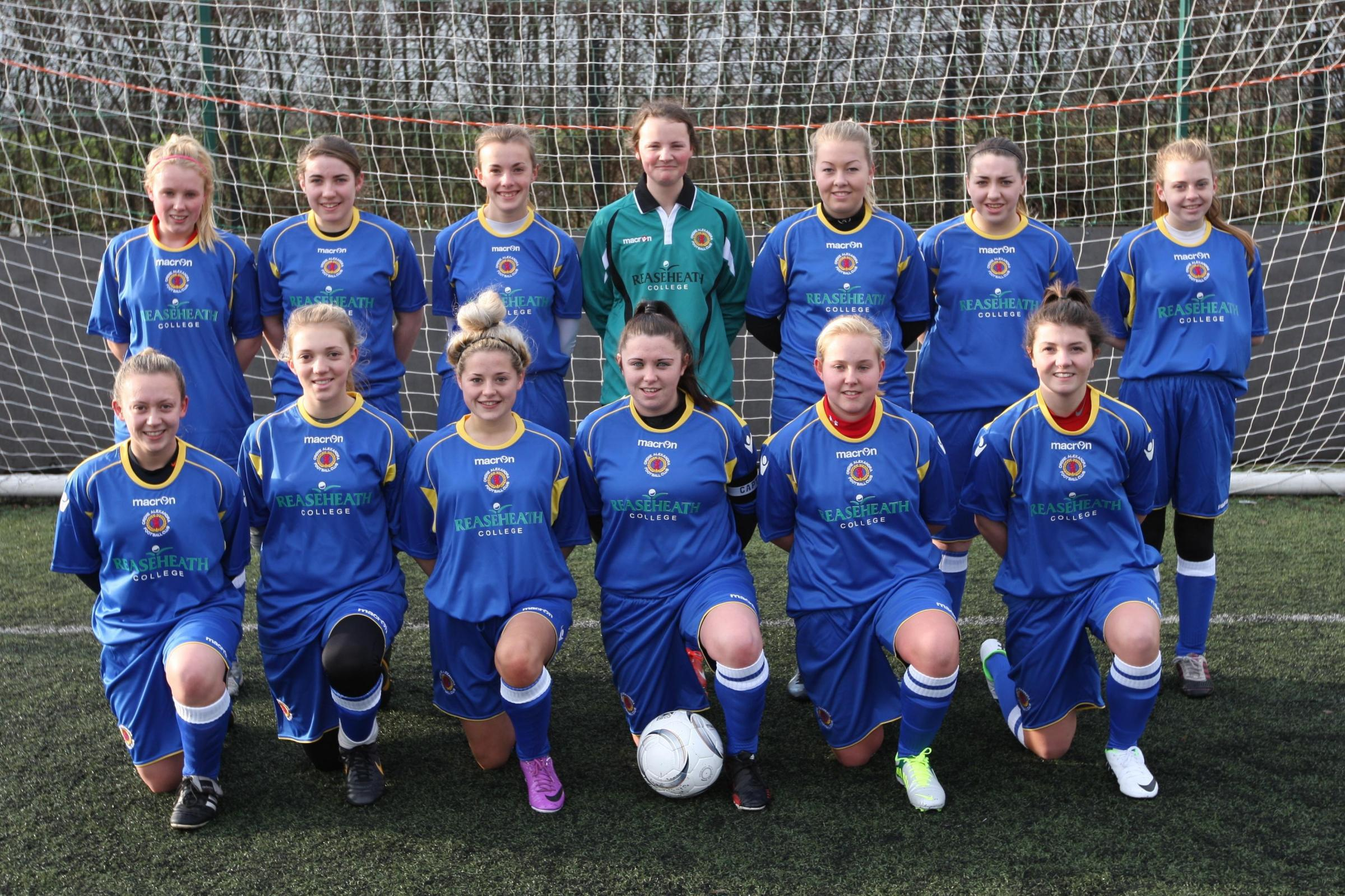 Crewe Ladies u18s, back row from left, Hannah Cunningham, Charlotte Wilkinson, Sharla Maddocks, Sophie Brooks, Mary Turley, Hollie Durkin, Kate Evans, front from left, Becky Garner, Abbey Whittingham, Annie Timmis, Alex Heron,