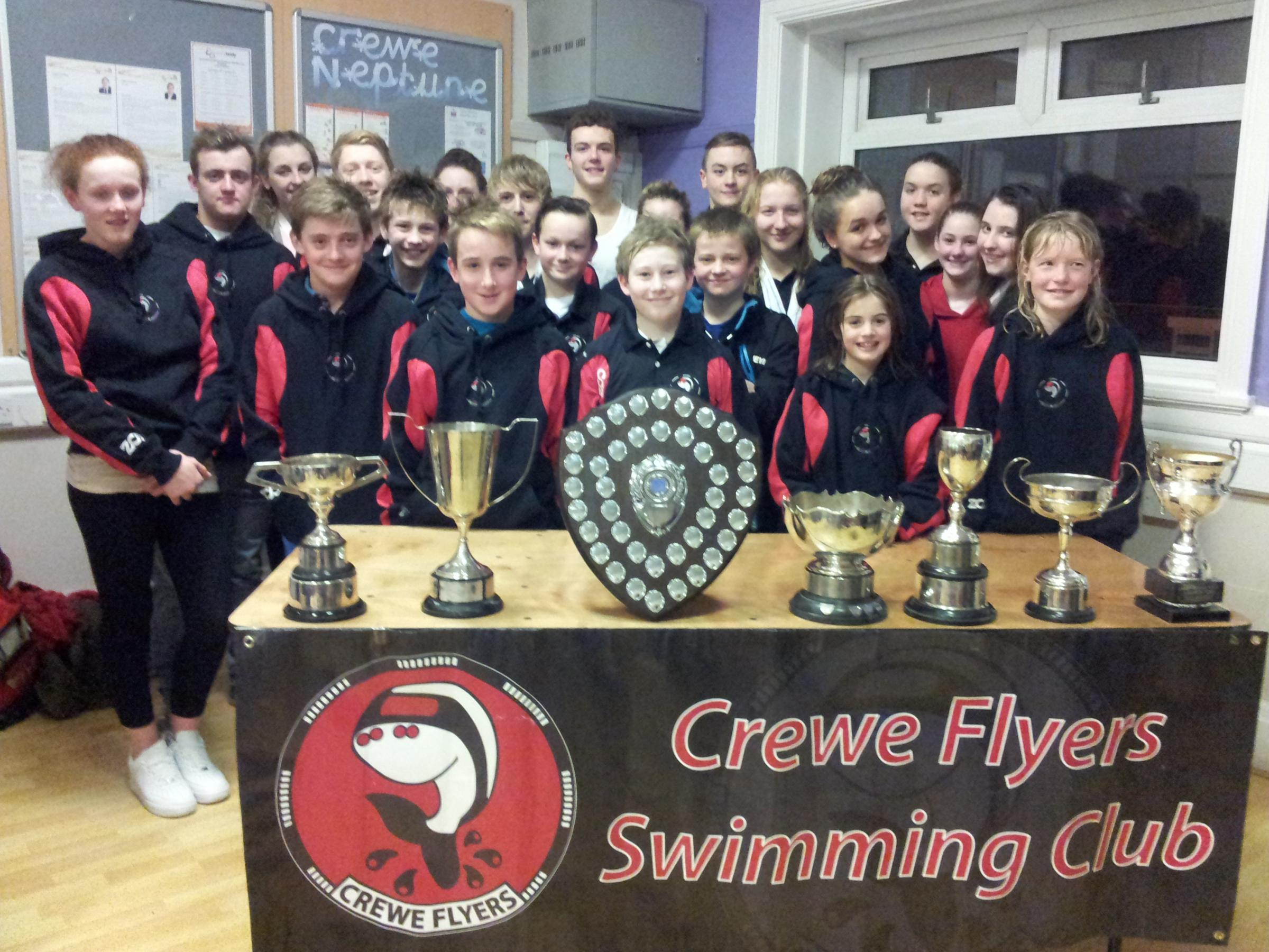 Prize winners from the North Midlands Swimming Gala where Flyers finished sixth out of