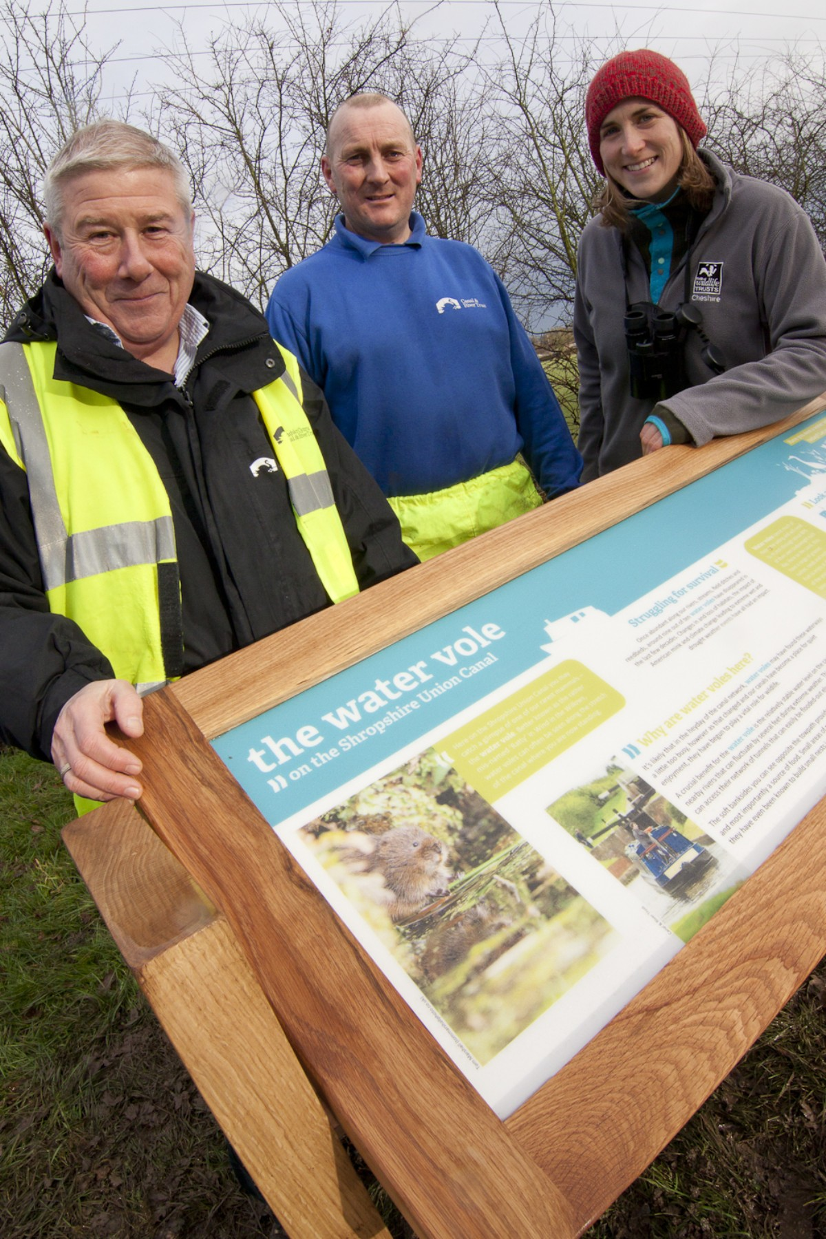 l-r Neville Preece  and Roger Birch of the Canal and River Trust alongside Dr Vicky Nall of the Cheshire Wildlife Trust.