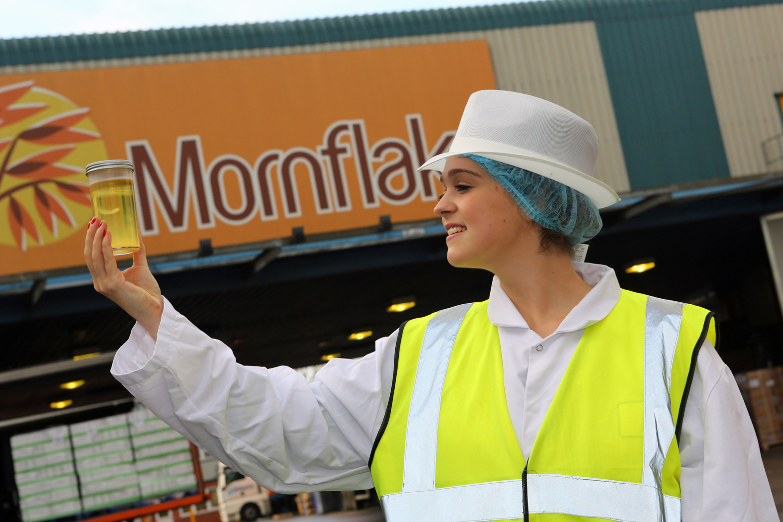 Catherine Sadler examines a sample of sustainable palm oil following a shipment to Mornflake in Crewe