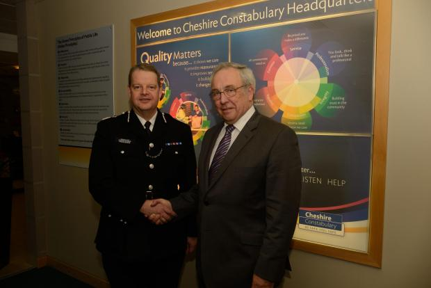 Crewe Guardian: Simon Byrne with Cheshire's Crime Commissioner John Dwyer