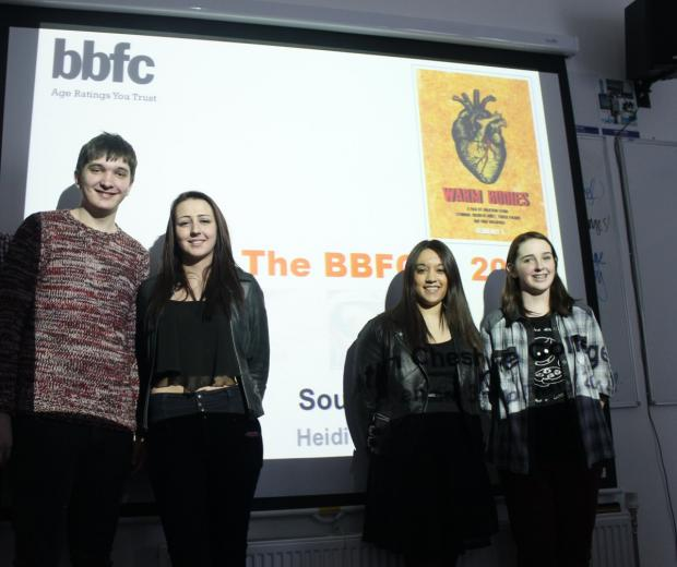 Students, left to right, Jack Such, 17, Molly Cartwright, 17, Pria Mohindra, 19, and Jenny Jardine, 17, who learnt about the film classification process.