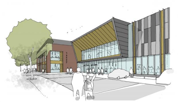 Artists' impression of the centre looking towards the main entrance from Moss Square
