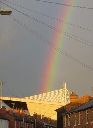 Guardian reader, DP Hughes, snapped this rainbow rising above Gresty Road after a summer shower.