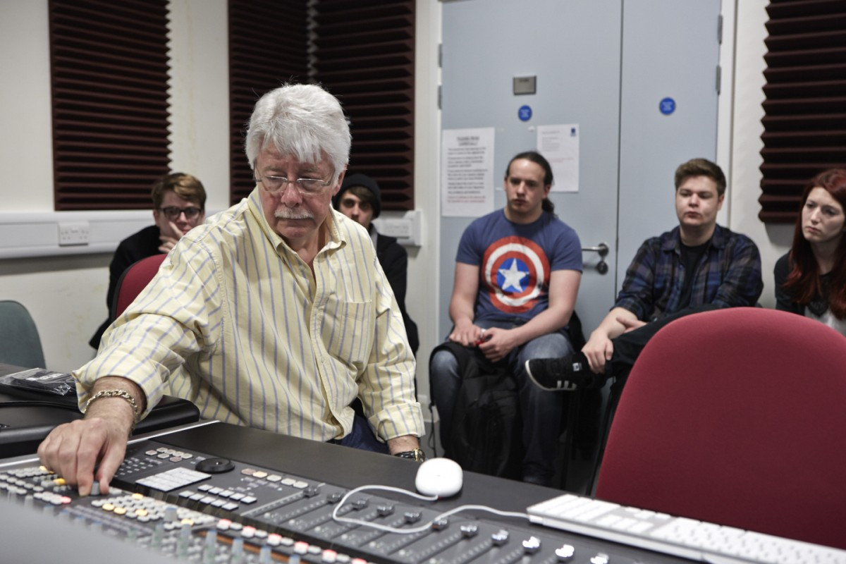 Ken Scott – the man behind Bowie's early 70s studio sound – gives Crewe degree students a master class is music production