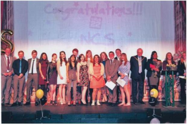 Youngsters celebrate their graduation from the NCS scheme in Crewe