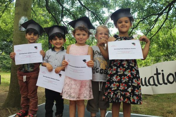 Left to right are Starting Point graduates Danyar Sadar, 4, Aran Shurani, 3, Jessica Fulham, 4, Joshua Griffiths, 4, and Cherelle Estridge, 4.