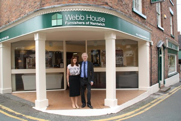 Howard and Joan outside their business in Nantwich