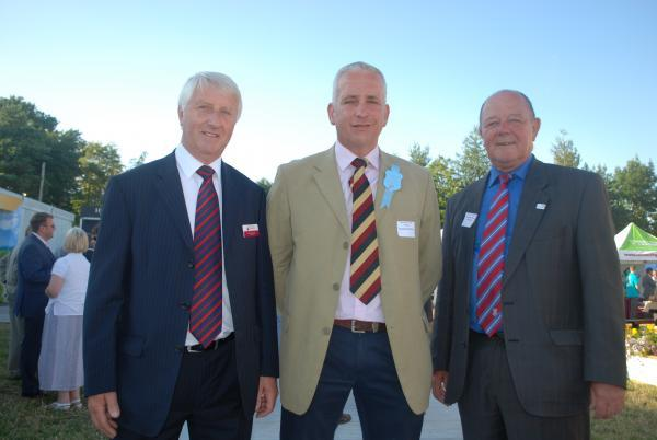 South Cheshire Chamber Chairman John Dunning with Nantwich Show Chairman Michael John-Parkin and Deputy Council Leader David Brown at the business reception staged on the eve of the event