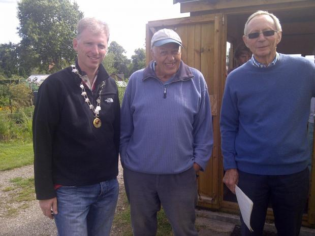 Deputy mayor of Nantwich, clr Andrew Martin, who presented prizes at the open day, alongside Albert Siddons and the chair of the Allotment Holders Committee, David Smith.