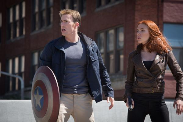 Chris Evans and Scarlett Johansson star in Captain America: The Winter Soldier. PA Photo/Walt Disney Studios Home Entertainment