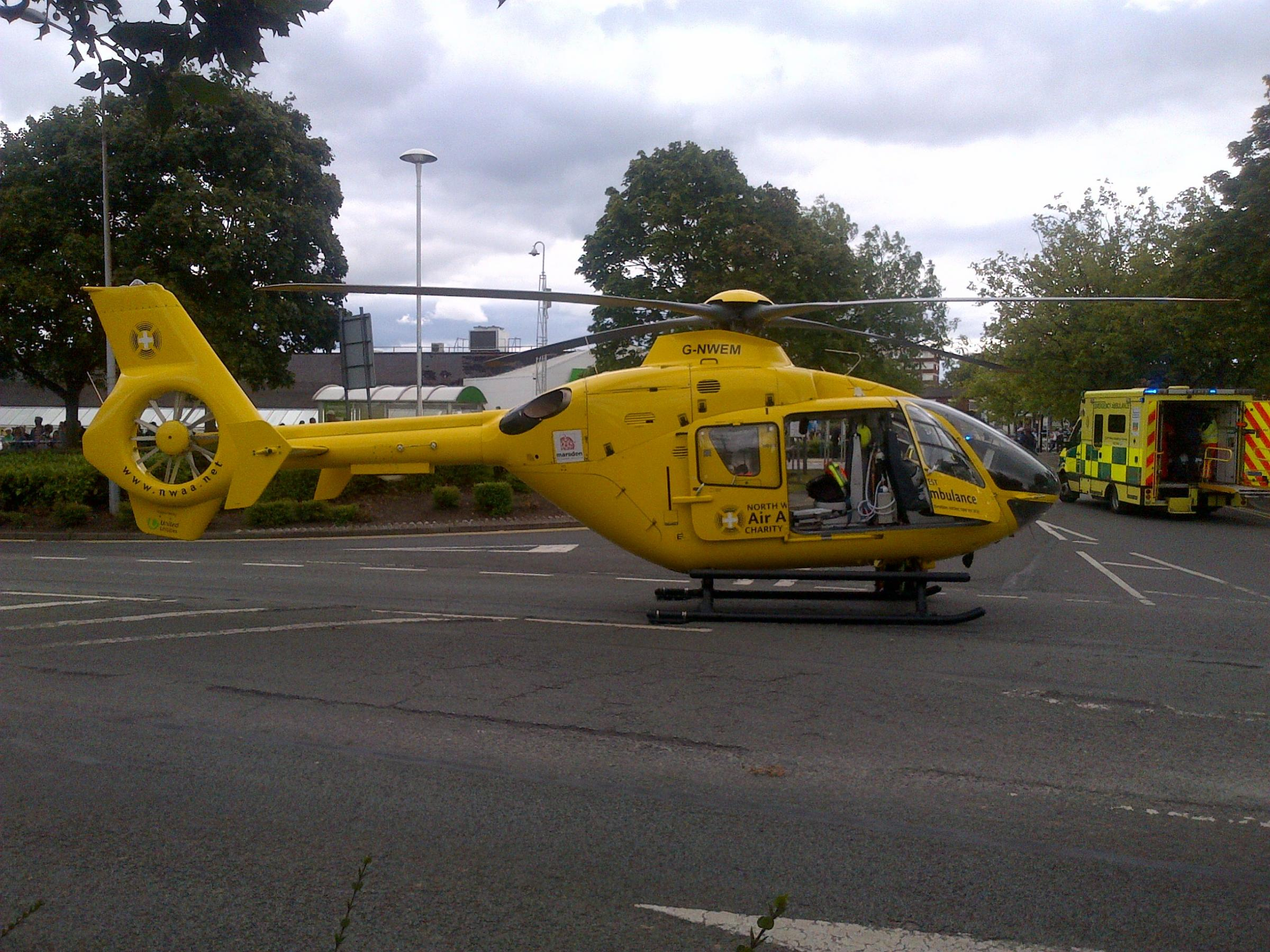 The North West Air Ambulance waits to airlift casualties to hospital following the attacks. Picture courtesy of Ian Williamson.