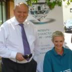 Crewe Guardian: Hospital Executive Director Wyn Davies and hospital receptionist  Alison Hughes before the head shave