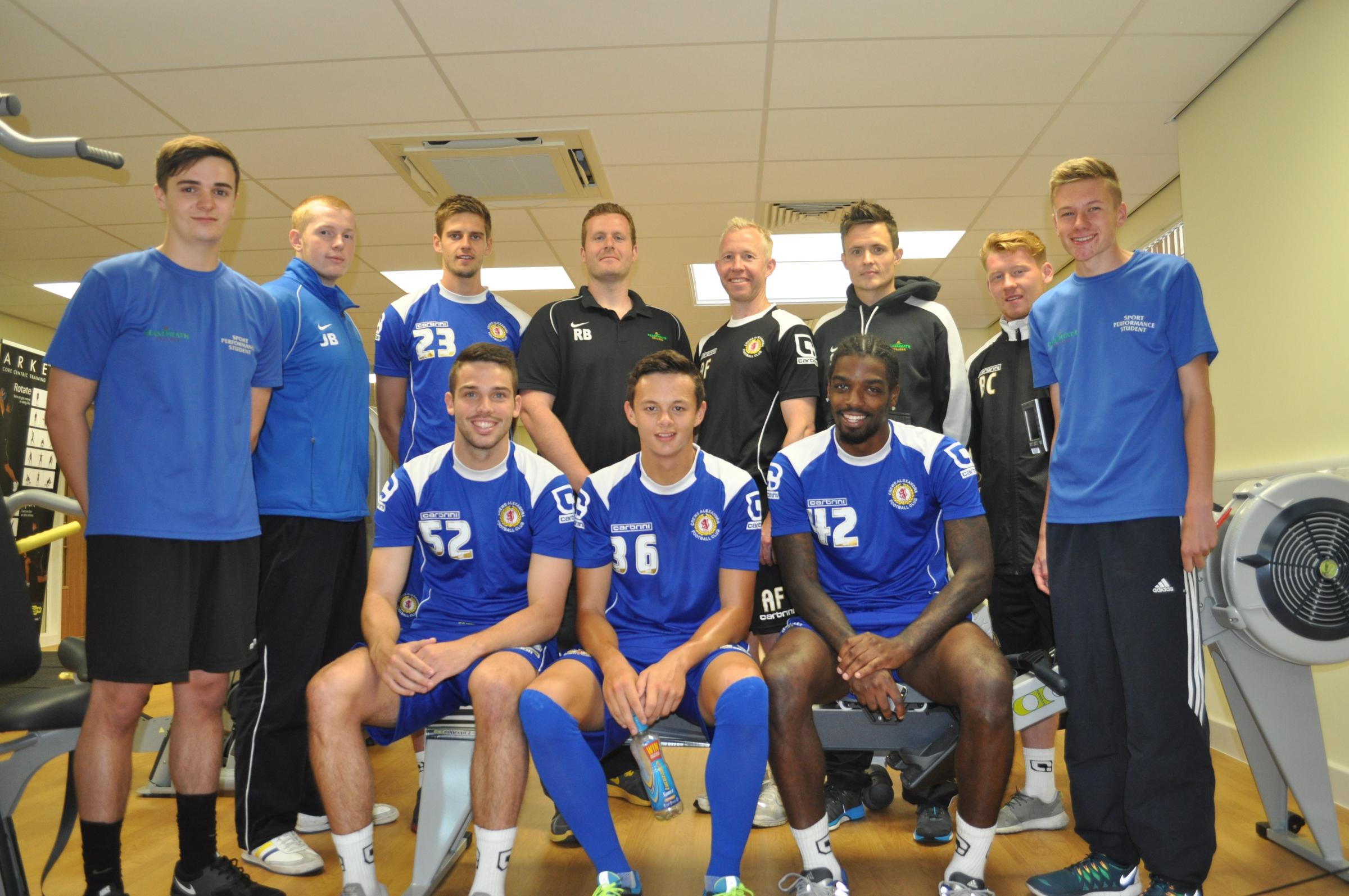 First team players Jon Guthrie, Brad Inman, Perry Ng and Anthony Grant join Richard Brooke, Andy Franks, Reaseheath sports lecturer Stuart Fisher, Crewe Alex assistant sport scientist Ben Cope and sports performance students James Brown, Stephen Ganley an