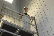 Level 3 Painting and Decorating student Brad Hughes, 18, brushes up on his skills in the Sports Arena