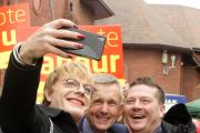 Eddie Izzard poses for a selfie with Labour candidate Dr Adrian Heald