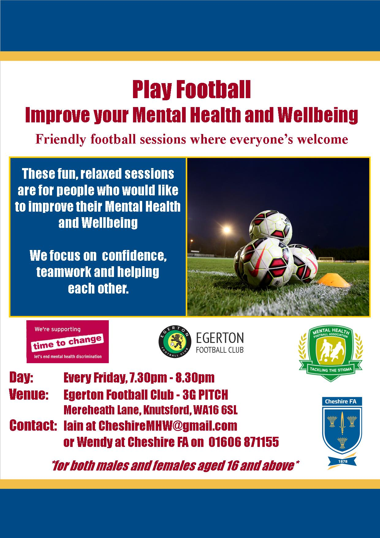Fun, friendly football sessions every Friday