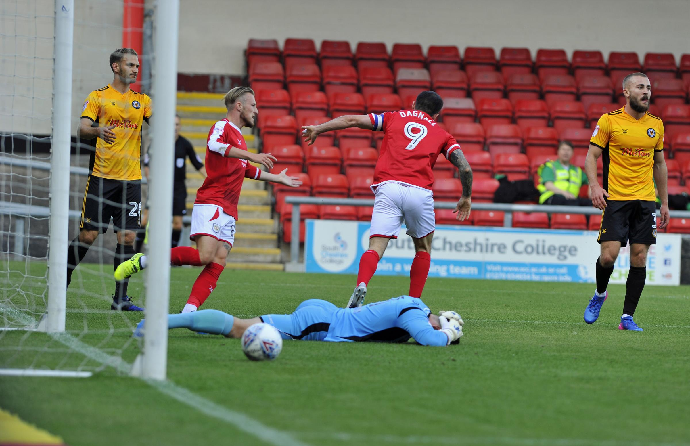 Chris Dagnall wheels away after scoring for The Alex against Newport on Saturday. Picture by Steve Finch