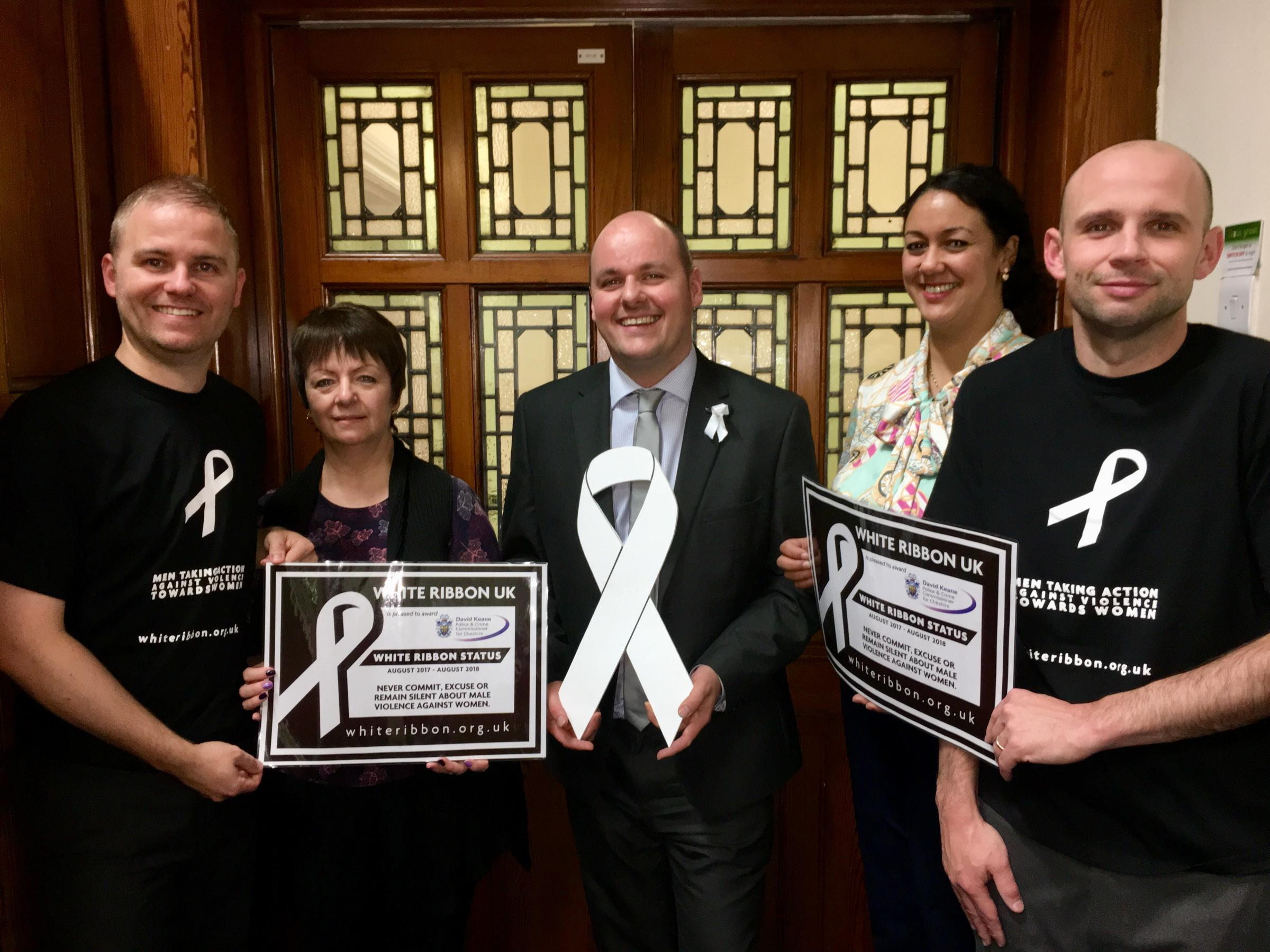 David Keane, Police and Crime Commissioner for Cheshire (centre) is now a White Ribbon Ambassador