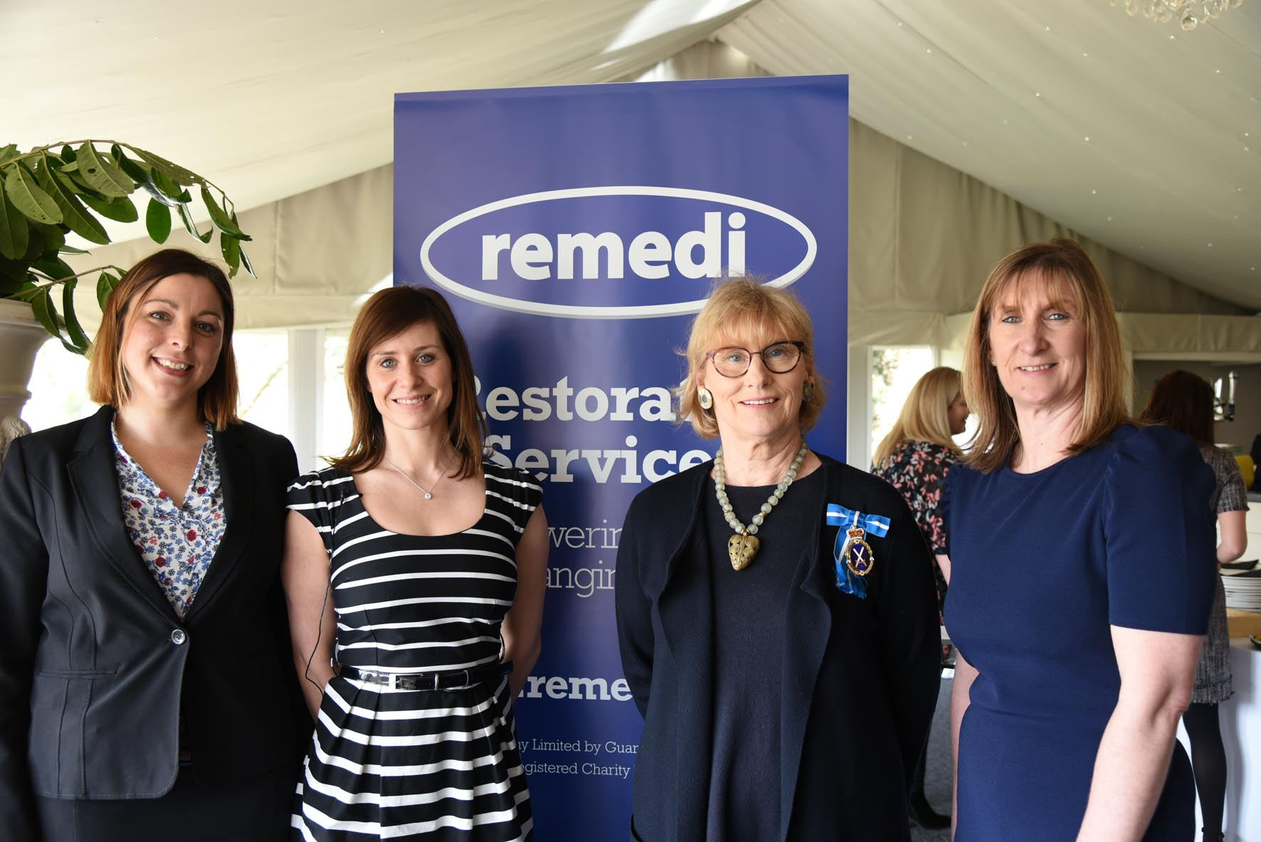 From left, Rainbow Langdale-Smith, from the office of the PCC, Nicola Bancroft, from Remedi, High Sheriff of Cheshire Sarah Callander Beckett and Lisa Gill, from Remedi