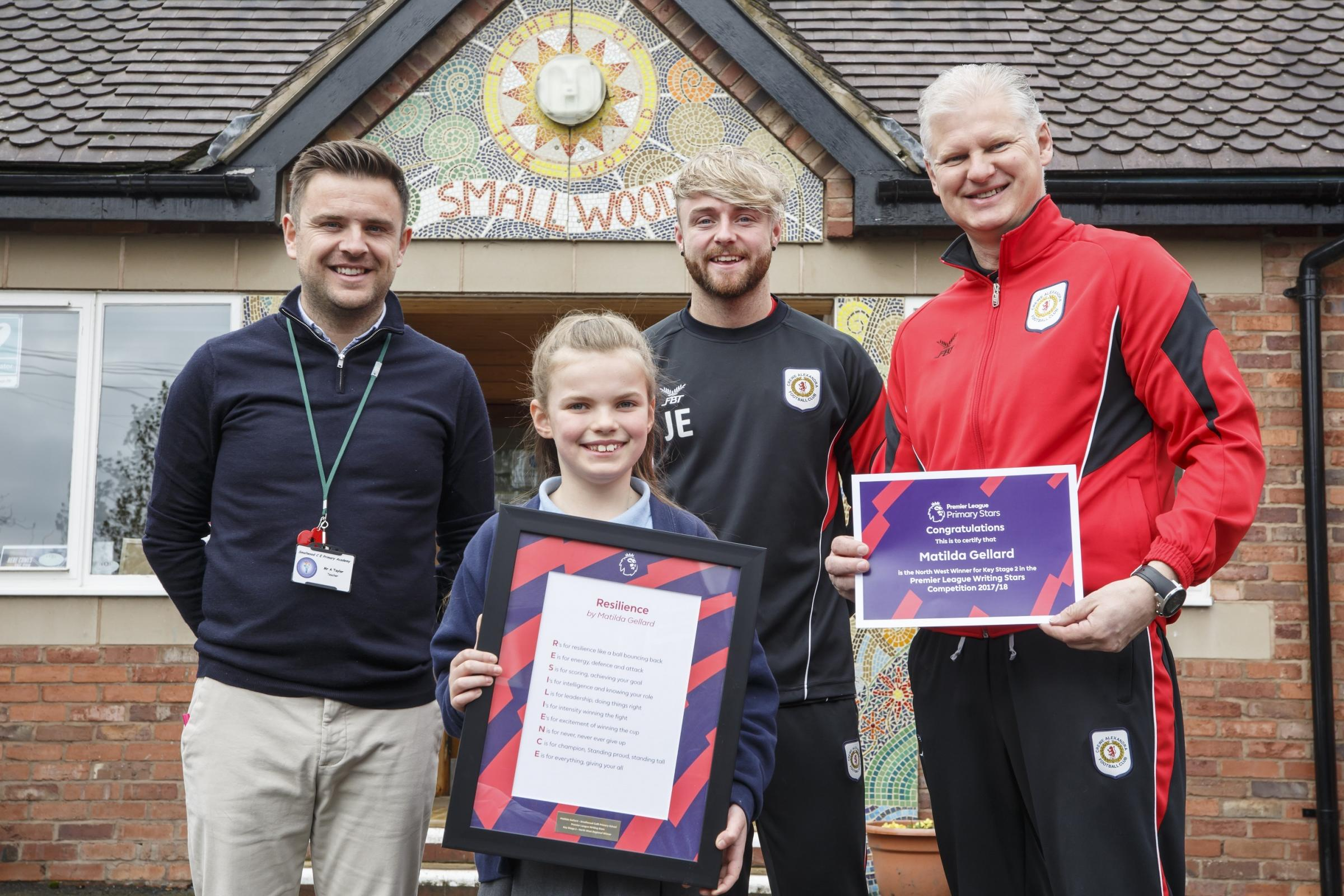 Matilda with her teacher and Jordan Edwards and Ray Walker from Crewe Alexandra FC