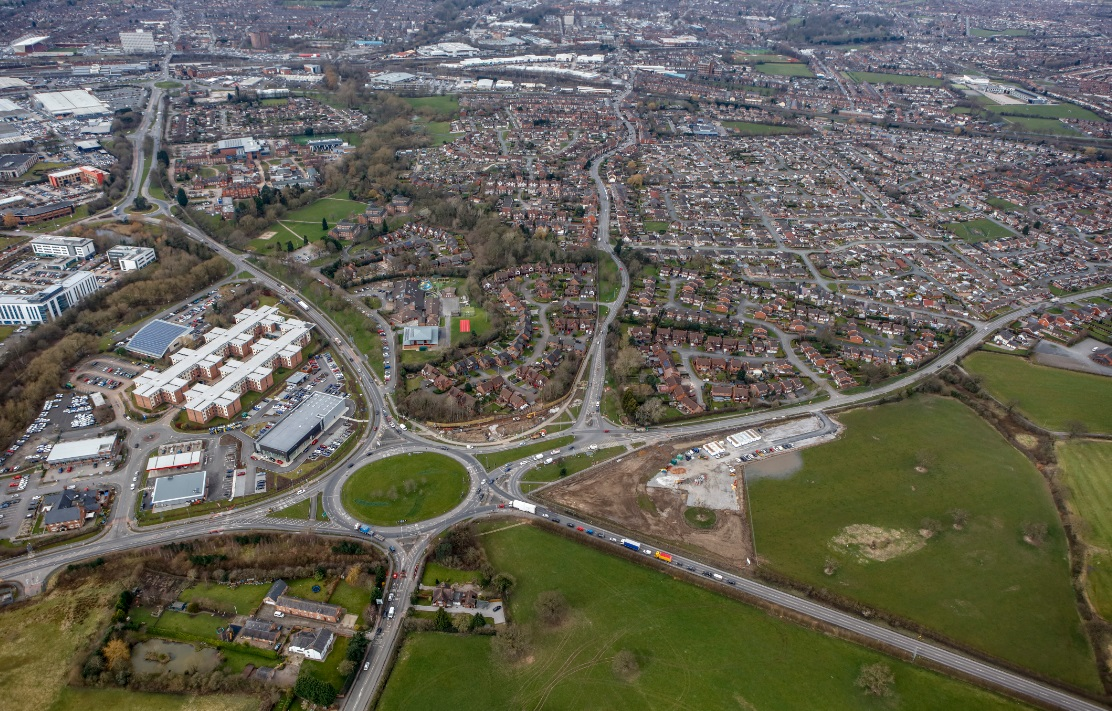An aerial view of the Crewe Green Roundabout works