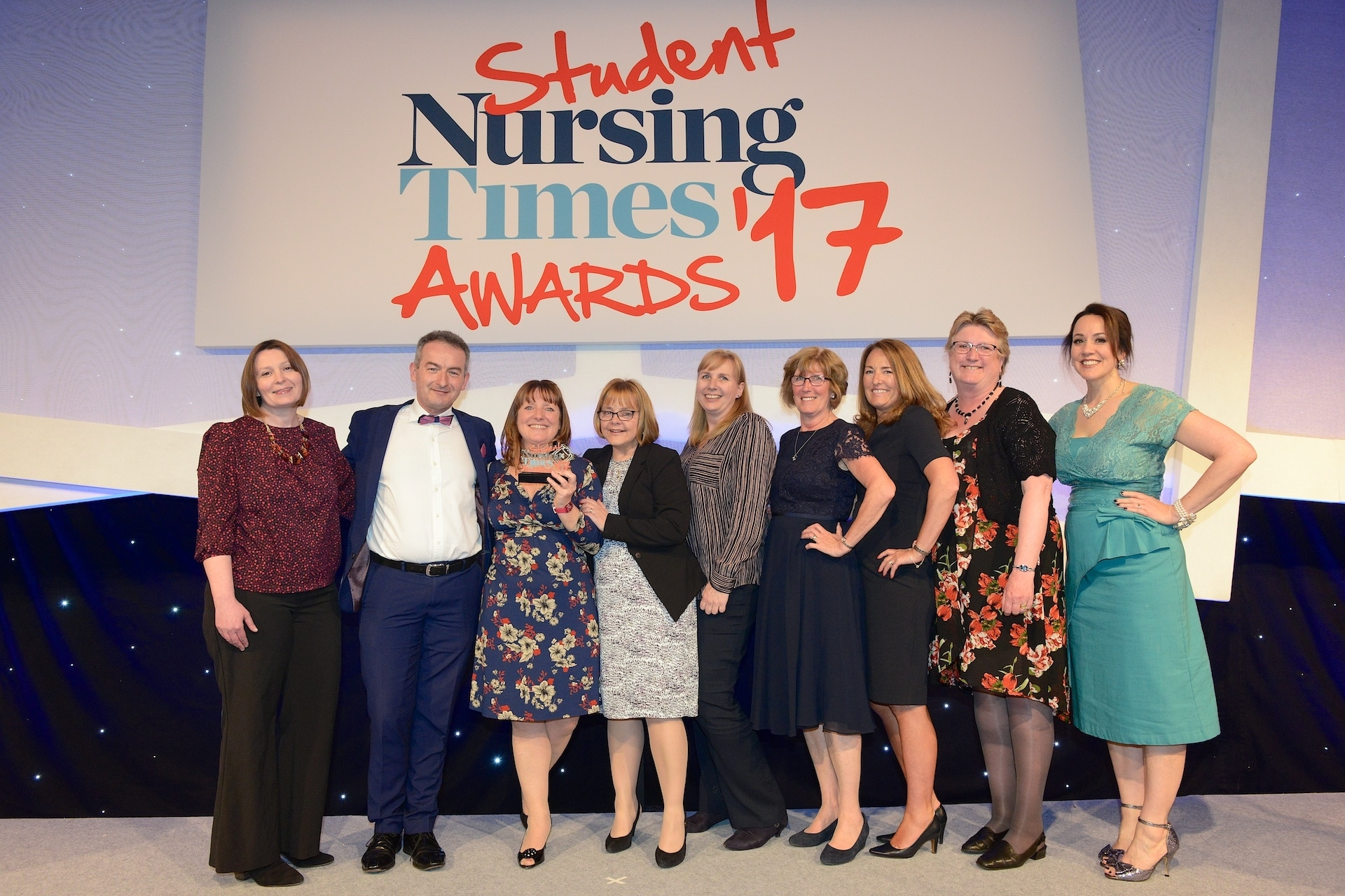 Members of the staff from the Trust's Return to Practice scheme and the University of Chester celebrate winning Return to Practice Course of the Year at the Student Nursing Times Awards 2017