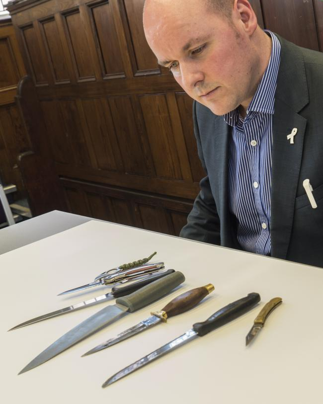 David Keane with some of the knives surrendered during Operation Sceptre earlier this year