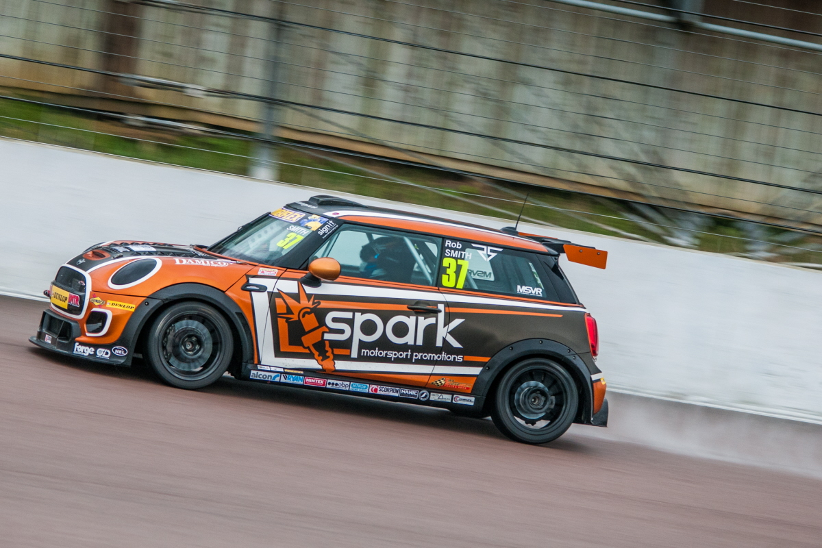 Rob Smith in action at Rockingham