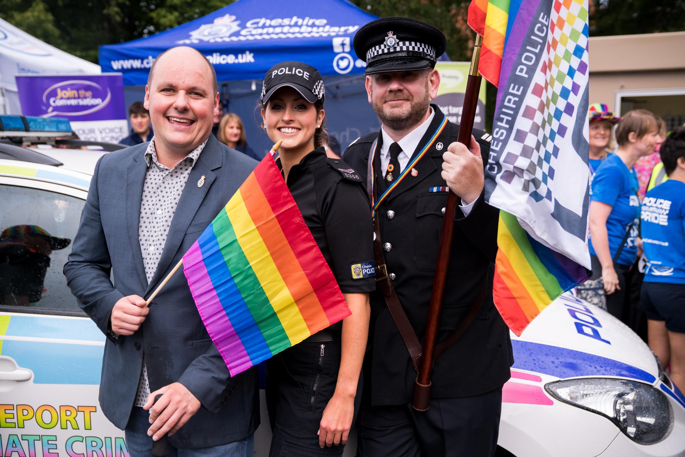 PCC David Keane with Cheshire Police officers at the 2017 Chester Pride event