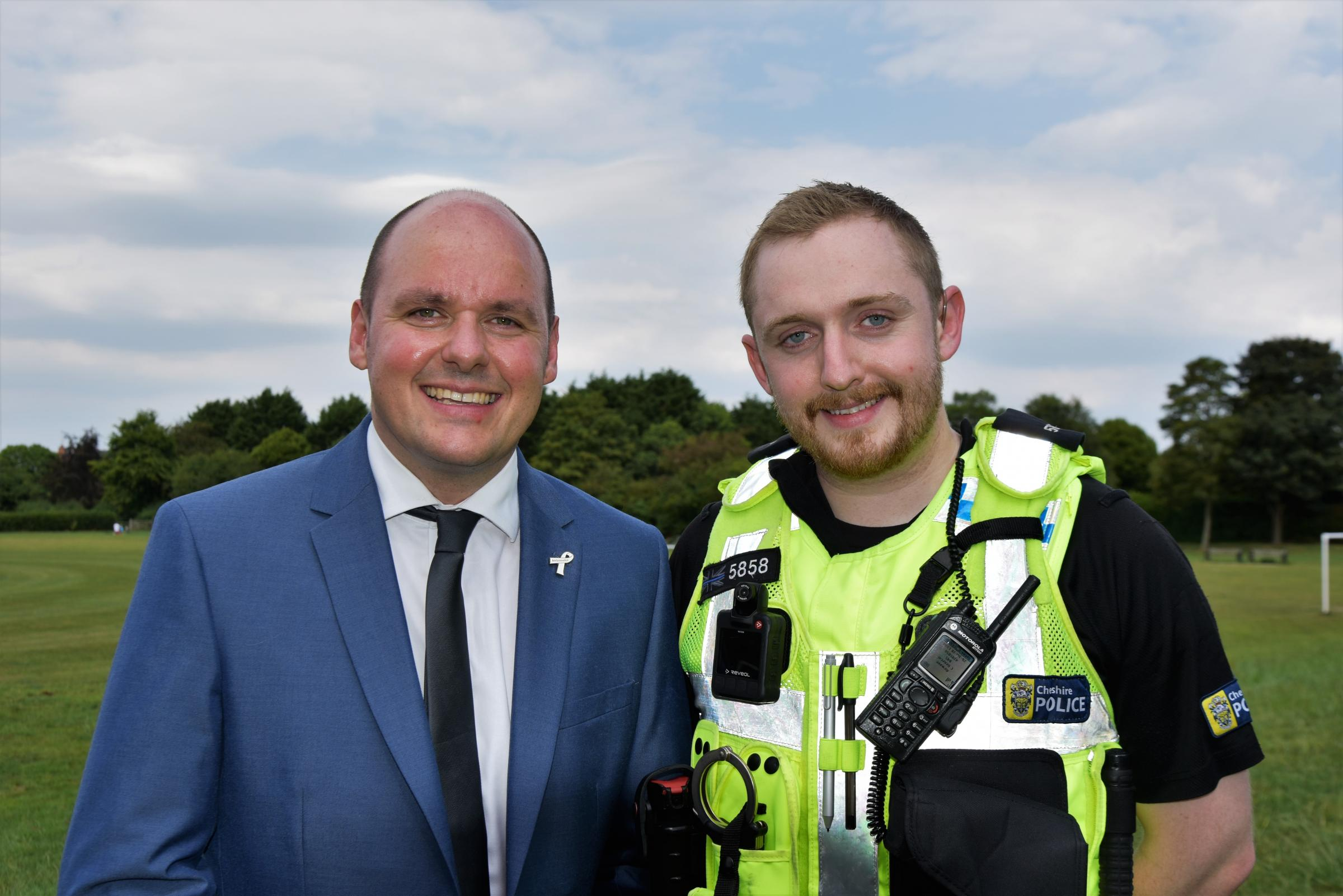 PCC David Keane with PC Tris Whitehead, a Taser officer currently using BWV.
